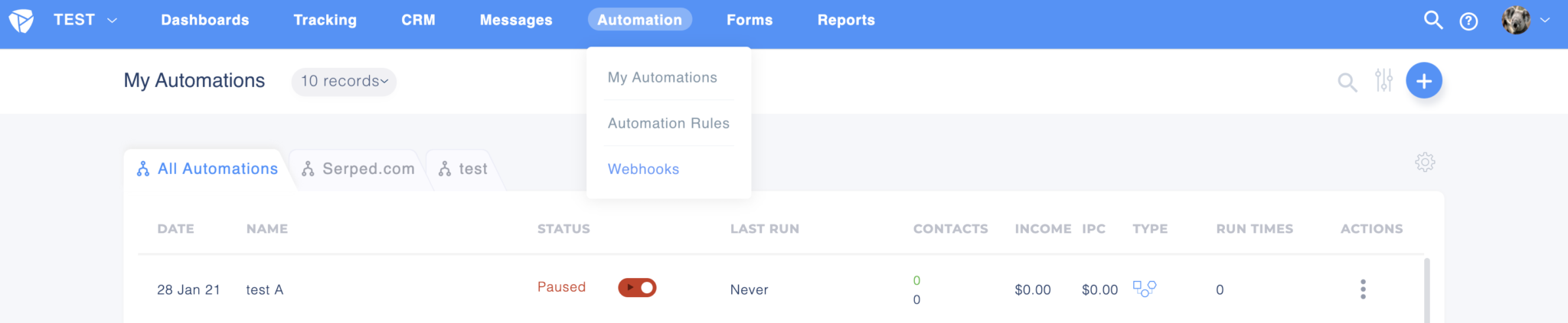 Automations and Webhooks